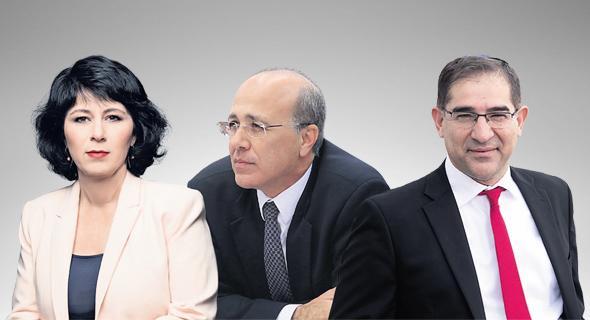 """מימין: מנכ""""ל משרד התקשורת נתי כהן, הממונה על שוק ההון משה ברקת והמפקחת על הבנקים חדוה בר"""