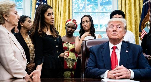 """נשיא ארה""""ב דונלד טראמפ במפגש עם פליטים נאדיה מוראד פעילה יזידית וזוכת פרס נובל לשלום, צילום: גטי אימג'ס"""