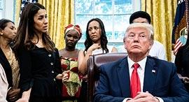 "נשיא ארה""ב דונלד טראמפ במפגש עם פליטה יזידית נאדיה מוראד, צילום: גטי אימג'ס"