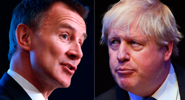 מימין בוריס ג'ונסון וג'רמי האנט, צילום: AFP