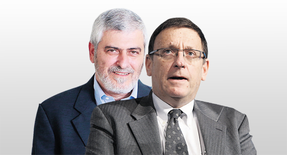 """מימין: יו""""ר בנק הפועלים עודד ערן והמנכ""""ל הנכנס דב קוטלר"""