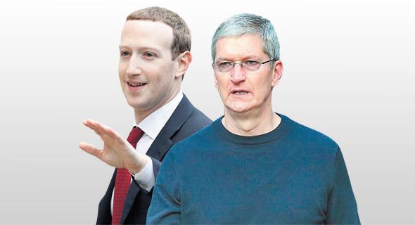 """מימין: מנכ""""ל אפל טים קוק ונשיא ומנכ""""ל פייסבוק מארק צוקרברג, צילומים: אי.אף.פי, POOL New"""