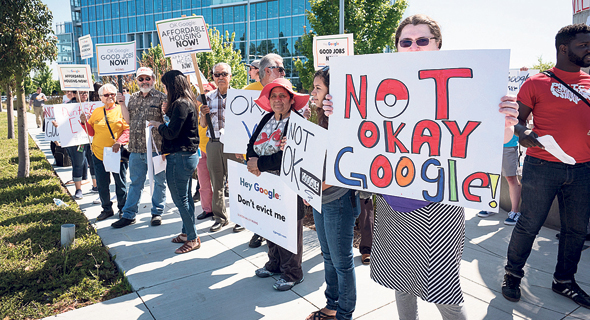 מפגינים ב גוגל סאניווייל ב קליפורניה, צילום: David Paul Morris