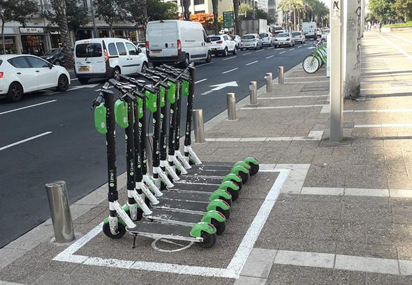 Parked e-scooters. Photo: courtesy of Tel Aviv