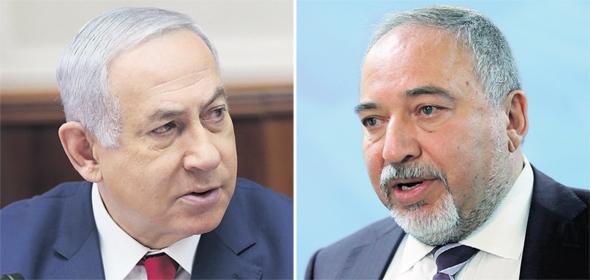 """מימין: יו""""ר ישראל ביתנו אביגדור ליברמן וראש הממשלה בנימין נתניהו"""