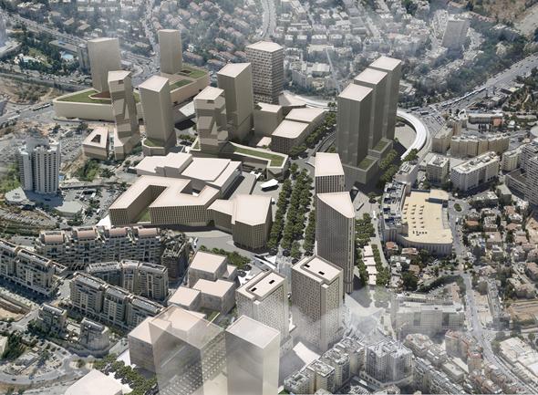 """פרויקט הכניסה לעיר. 1.6 מיליון מ""""ר למשרדים, מלונאות, מסחר ומגורים משותפים, הדמיה: Topotek1"""