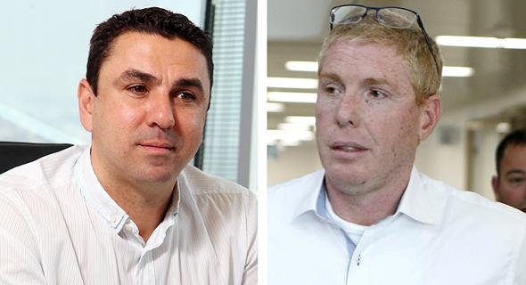 """מימין: רונן גינצבורג, מנכ""""ל דניה סיבוס, וגבי מגנזי בעלים של קבוצת מגנזי"""