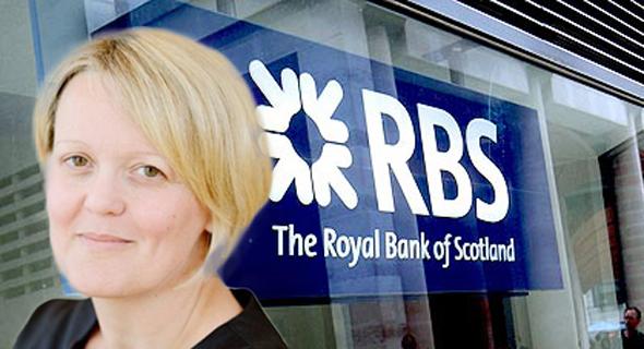אליסון רוז על רקע סניף של RBS, צילום: RBS, Bloomberg