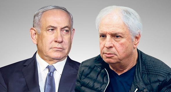 מימין שאול אלוביץ' ו בנימין נתניהו 12.8.19, צילום: אוראל כהן, אלעד גרשגורן
