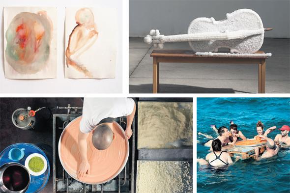 """ספרה ויצירותיה של לנדאו, מימין למטה ובכיוון השעון: הפלגה לים המלח, """"כנאפה"""", """"קורות ביתינו"""" ופרט מתוך התערוכה בזלצבורג. """"יש לי ברית עם ים המלח"""""""