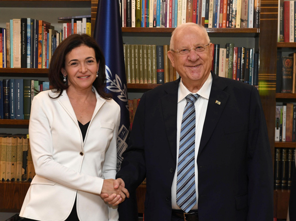 Sheryl Sandberg and Reuven Rivlin. Photo: Mark Neima