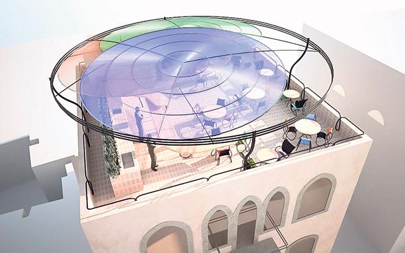 הדמיה של הגג במלון אלמינה בעיצובו של רון ארד