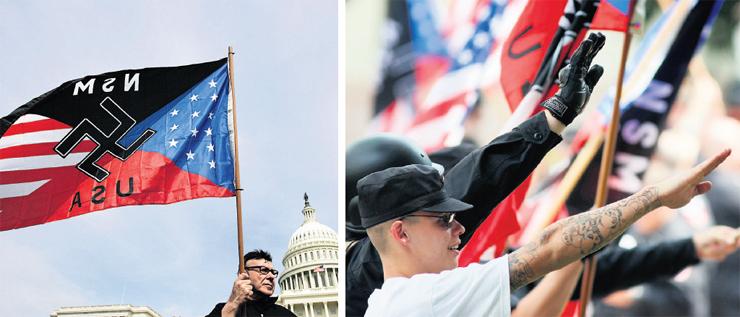 """אנשי ימין קיצוני מפגינים בקליפורניה (מימין) ובבירה וושינגטון. """"הקורבנוּת היא עניין מהותי: 'למה הלבנים צריכים להרגיש אשמים?'"""""""