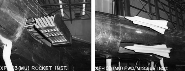 תאי החימוש של המטוס: מימין - טילים, משמאל - כוורת רקטות