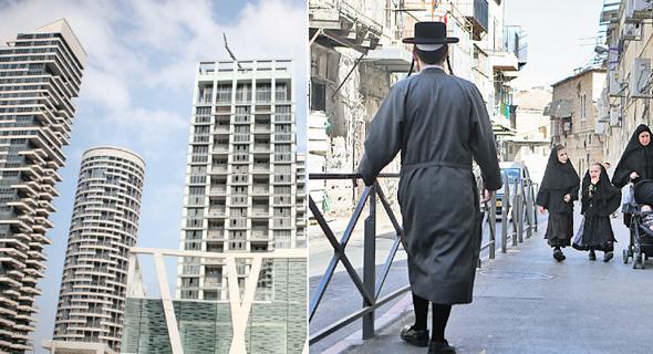 מימין: שכונת מאה שערים ב ירושלים ושכונת מגדלי פארק צמרת בתל אביב, צילומים: אלכס קולומויסקי, תומי הרפז
