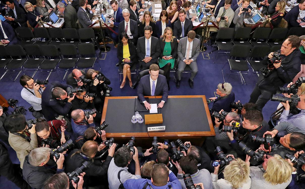 צוקרברג מעיד בפני ועדת המשנה של הסנאט, צילום: איי פי
