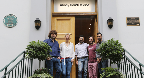 MyPart founders Matan Kollnescher and Ariel Toli Gadilov with the Abbey Road team. Photo: Abbey Road Studios