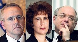 מימין שופטי בית המשפט העליון ניל הנדל, דפנה ברק־ארז ודוד מינץ, צילומים: אלכס קולומויסקי, עמית שעל