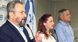 ראשי המחנה הדמוקרטי ניצן הורוביץ סתיו שפיר ו אהוד ברק, צילום: יריב כץ