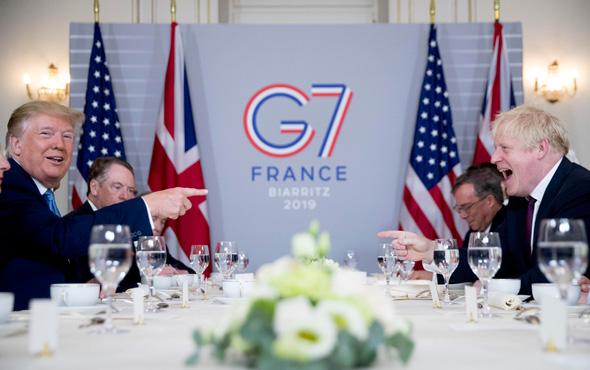דונלד טראמפ בוריס ג'ונסון ועידת 7G בעיר Biarritz צרפת , צילום: איי פי