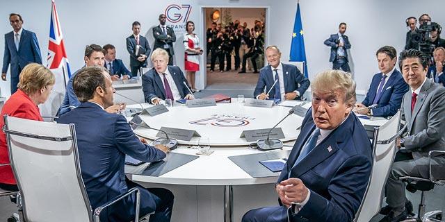 """טראמפ בפסגת ה-G7: """"מלחמת סחר? אני יכול להכריז על מצב חירום לאומי"""""""