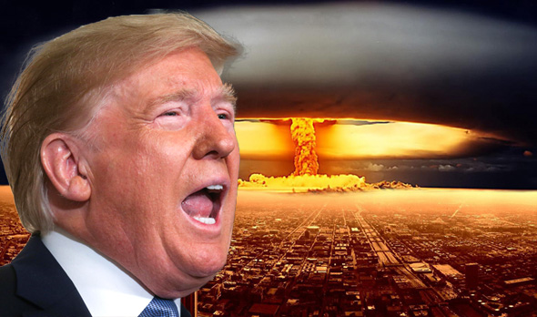 Donald Trump superimposed on a nuclear explosion. Photo: Reuters, Wallpapercave