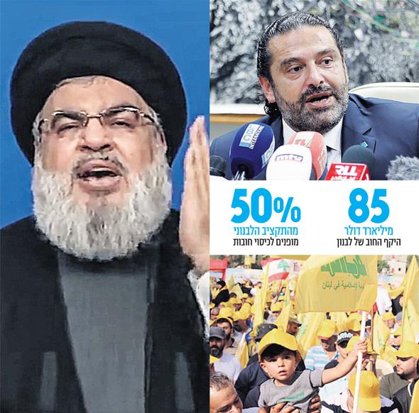 מימין למעלה: ראש ממשלת לבנון סעד אל־חרירי, מפגן תמיכה בחיזבאללה השבוע וחסן נסראללה בנאומו שלשום, צילומים: אי פי, אי אף פי, אי פי אי