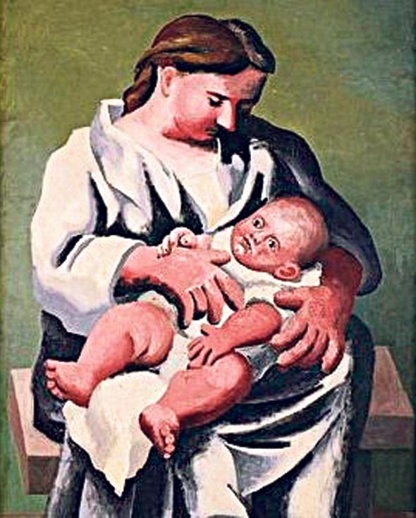 """פנאי פבלו פיקסו: עד שהגיעה המאהבת, צילום: """"Pablo Picasso. Maternity. Fontainebleau, été 1921. Oil on canvas"""""""