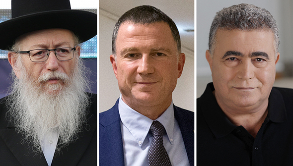 From left: Yaakov Litzman, Yuli Edelstein, and Amir Peretz. Photo: Alex Kolomvisky, Amit Shabi, Ziv Koren