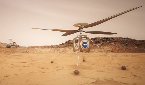 An illustration of NASA's Ingenuity robotic helicopter on Mars. Photo: NASA
