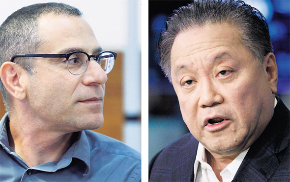 Israel Tax Authority Director General Eran Yaacov (left). Photo: Amit Sha'al. Broadcom CEO Hock Tan. Photo: EPA