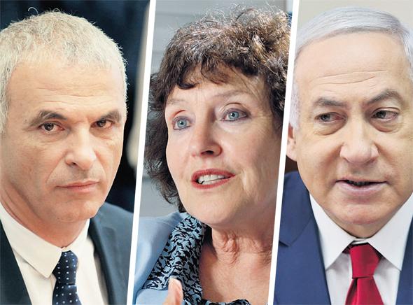 ראש הממשלה בנימין נתניהו, נגידת בנק ישראל לשעבר קרנית פלוג, ושר האוצר משה כחלון
