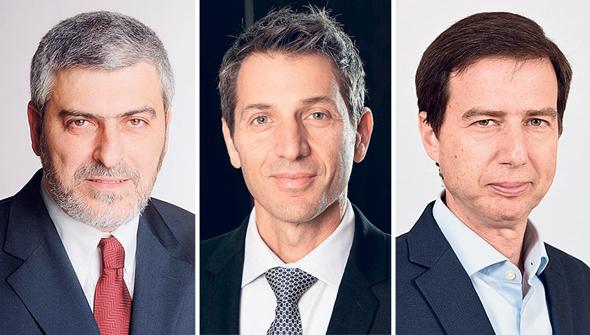 """מימין: חנן פרידמן, אורי לוין ודב קוטלר, מנכ""""לי לאומי, דיסקונט ופועלים בהתאמה"""