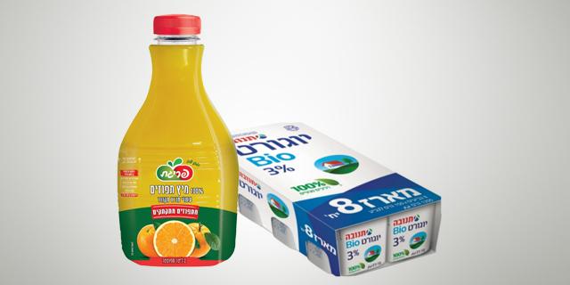 פריגת ותנובה מבצעות ריקולים - של מיץ תפוזים ויוגורט