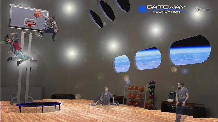 כדורסל באפס-כבידה, הדמיה: Gateway Foundation