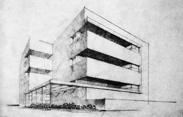 """התוכנית המקורית של דב כרמי. """"רצינו להראות בית דירות שנבנה עבור לקוח אמיתי"""", אומרת בתו עדה כרמי"""