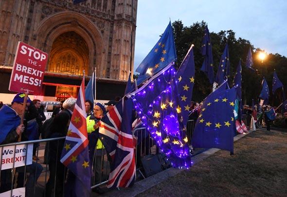 מתנגדי ברקזיט מפגינים מחוץ לפרלמנט, צילום: אי פי איי
