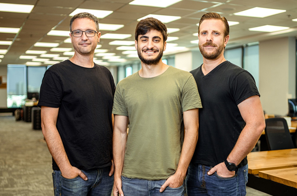 Explorium co-founders Omer Har (left), Maor Shlomo, and Or Tamir. Photo: Doron Letzter