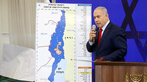 בנימין נתניהו ראש הממשלה ב הצהרה שבוע לפני ה בחירות בה הודיע כי יספח את בקעת הירדן ו צפון ים המלח, צילום: יריב כץ