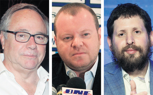 מימין: שולם לפידות, אלכס שניידר ובעל השליטה בהראל יאיר המבורגר