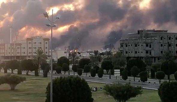 הפגיעה במתקני הנפט הסעודיים, צילום: רויטרס