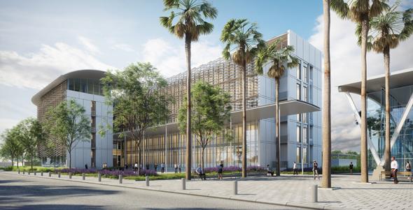 הדמיה של מתחם המשרדים החדש של רשות שדות התעופה, הדמיה: אפשטיין ניהול פרויקטים