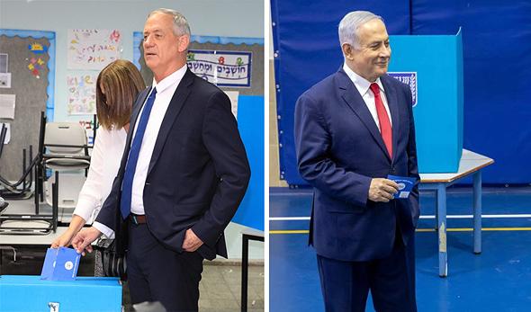 מימין בנימין נתניהו ו בני גנץ מצביעים בבחירות הקודומות, צילום: אמיל סלמן - הארץ, ענר גרין