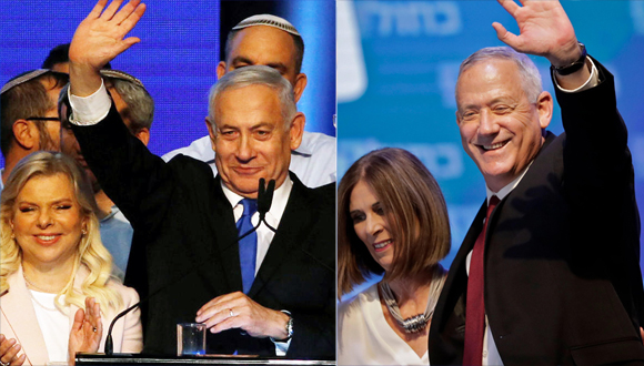 Benjamin Natanyahu (left) and Benny Gantz. Photo: Reuters, AFP