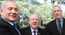 גנץ, ריבלין ונתניהו, צילום: אוהד צויגנברג