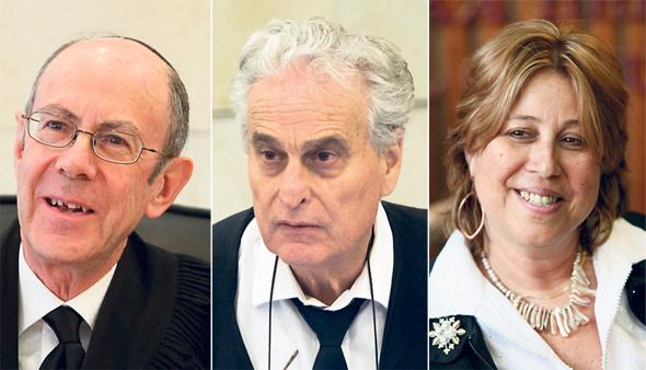 מימין: נשיאת בית הדין הארצי לעבודה כיום ורדה וירט ליבנה, והנשיאים לשעבר יגאל פליטמן וסטיב אדלר