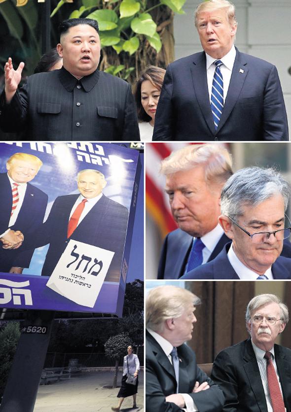 למעלה, עם כיוון השעון: טראמפ עם מנהיג קוריאה הצפונית קים ג