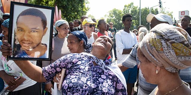 הפגנה של בני העדה האתיופית לאחר מותו של סלומון טקה, צילום: גיל נחושתן