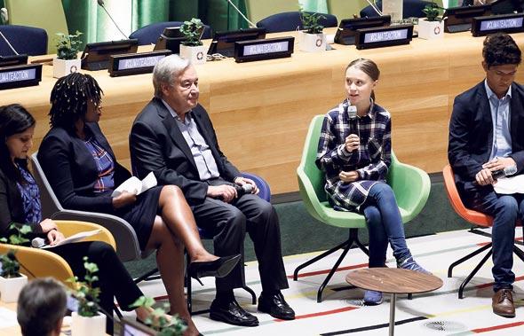 """מזכ""""ל האו""""ם אנטוניו גוטרש ופעילת האקלים גרטה ת"""