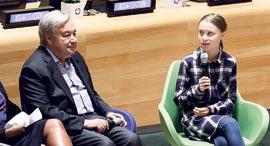 """מזכ""""ל האו""""ם אנטוניו גוטרש ופעילת האקלים גרטה ת'אנברג, צילום: אי.פי.אי"""